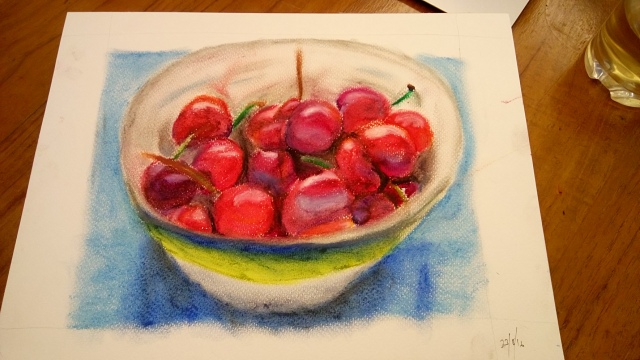 Pastel painting of bowl of cherries